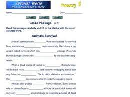 cloze passage animal survival 3rd 5th grade worksheet lesson