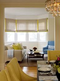 gray and yellow roman shades contemporary living room jute