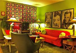 Retro Living Room Furniture by Retro Living Room Ideas With Green Walls And Wall Gallery And
