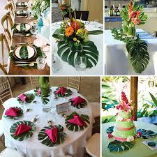 luau party enlife 12pcs artificial tropical palm leaves hawaii luau party