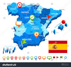 Almeria Spain Map by Spain Map 3d Flag Navigation Icons Stock Vector 255530836
