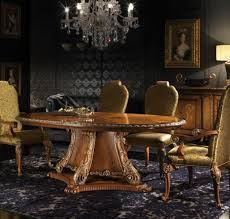 high end dining room sets dark brown varnished wood table round