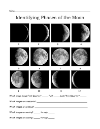 identifying phases of the moon 3rd 7th grade worksheet lesson