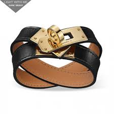 hermes bracelet leather images Hermes kelly double tour black leather bracelet with gold plated jpg