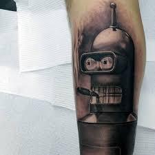 40 bender tattoo designs for men futurama robot ink ideas