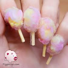 piggieluv cotton candy nail art for halloween costume