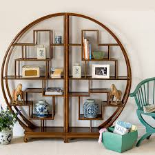 round elm bookcase oriental lacquer bookshelves brown orchid pin