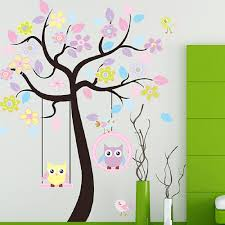 wall stickers cartoon owl swing tree 170cm 160cm