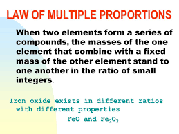 law of definite proportions in a compound the ratios by mass of