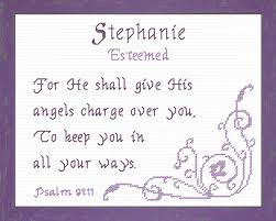 cross stitch with a name meaning and a bible verse name
