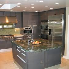 grey kitchen cabinets with marble island kitchen style