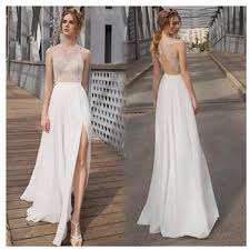 wedding dress simple beautiful white side split prom dress open back charming