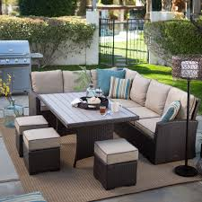 outdoor dining patio sets darlee santa barbara 9 piece cast belham living monticello all weather wicker sofa sectional