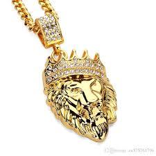fashion design necklace images Wholesale fashion design lion head pendant necklace men punk gold jpg