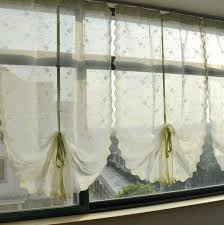 riband draw string embroidered retractable curtains lace curtain