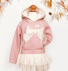 mae li rose lace bow hoodie in rosy lavender now in stock