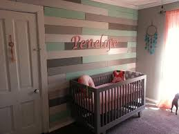 Gray Accent Wall by Coral And Mint Arrow Theme Girls Nursery Woods Gray And Walls