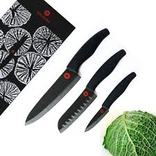kikusumi black ceramic collection 3 piece chef knife set black