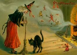witch holding boom black cat halloween digital download