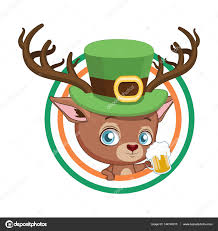 Flag With Red Circle Cute Red Deer Inside A Circle With The Colors Of Ireland Flag