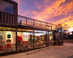 topo designs flagship store constructed from recycled shipping