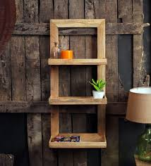 buy brown mango wood framed wall shelf with 3 slabs by fabuliv