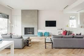 herringbone wood floor living room scandinavian with blue pouf