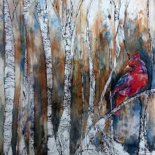 birch wood halloween background cardinal in birch tree forest painting by christy freeman