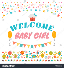 welcome baby announcement card baby stock vector 414895129