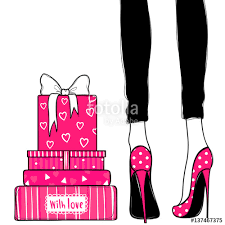 birthday cards with shoes vector greeting card for holidays design fashion illustration
