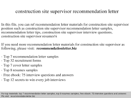 Sample Resume For Construction Site Supervisor by Construction Site Supervisor Recommendation Letter Documents