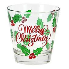 bicchieri cerve set 6 bicchieri acqua vetro cerve natale rosso merry cl