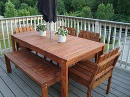 Wooden Outdoor Patio Furniture by Exquisite Decoration Wood Outdoor Dining Table Cool Design