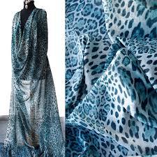 silk chiffon fabric animal print leopard design teal blue petrol