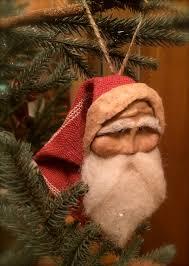 handmade primitive santa ornament primitive santa santa
