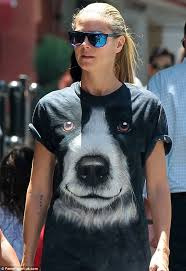 heidi klum wearing the mountain border collie face god and