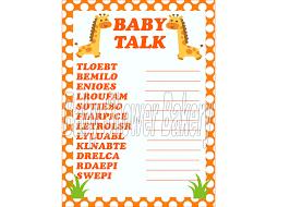 giraffe baby shower game baby shower word scramble orange