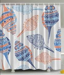 Orange And Blue Shower Curtain Stunning Seashell Shower Curtains