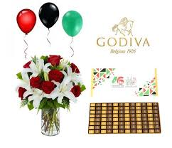 balloons and chocolate delivery godiva chocolate with flowers for uae national day free delivery