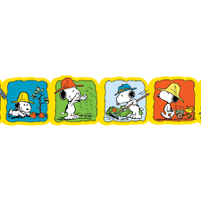 snoopy u0027s spring strawberry patch extra wide bulletin board trim
