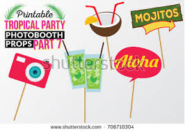 printable photo booth props summer set printable tropical party photo booth stock photo photo vector