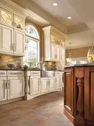 Driftwood Kitchen Cabinets Cute Brown Color Natural Stone Tile Kitchen Floor Features White