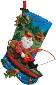 18 felt applique kit fishing santa