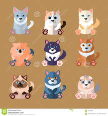 breeds of cats icons vector illustration stock vector image