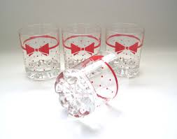 italian rock glasses set of 4 red bow ties and polka dots
