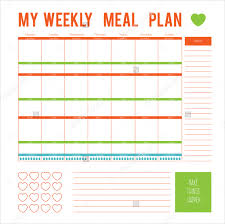 meal plan template 18 free word pdf psd vector format