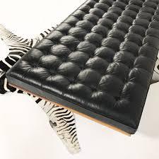 vintage mies van der rohe barcelona daybed sofa with zebra hide