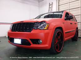 jeep grand cherokee vinyl wrap jeep grand cherokee srt8 wrapped in matte red 3m by dbx diamond