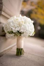 White Hydrangea Bouquet The Bride Will Carry A Round Clutch Bouquet Of White Hydrangea