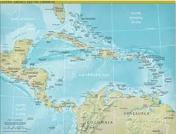 Blank Map Of Central America And Caribbean Islands by Central America Caribbean Physical Classroom Map From Academia